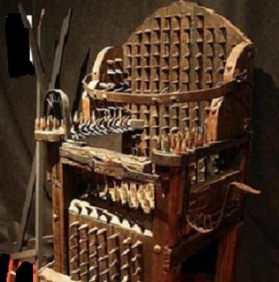 TORTURE CHAIR USED BY THE CHURCH TO QUESTION HERETICS